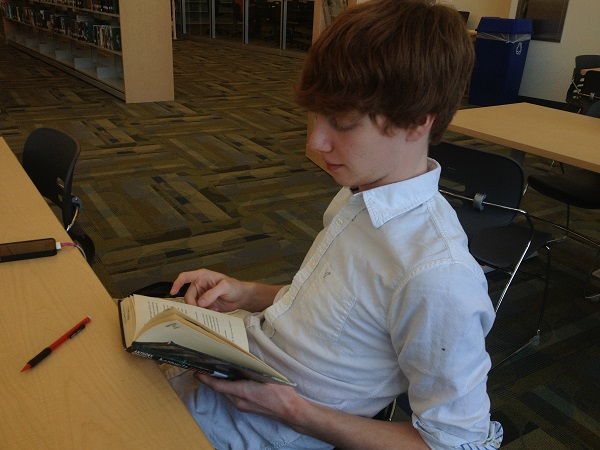 Mason Baumana '14 spices up his day by reading Horror stories by Horowitz.
