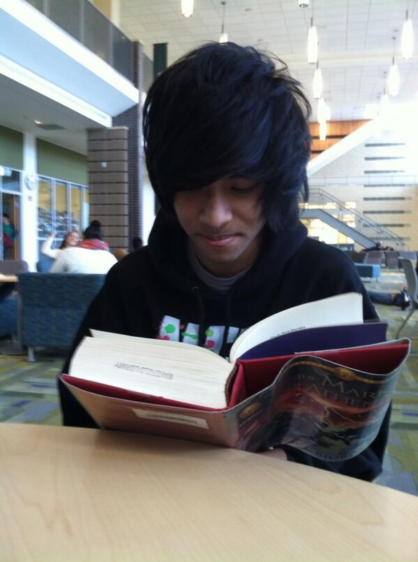 Sophomore William Pan starts the new Rick Riordan book at the start of 2nd lunch.