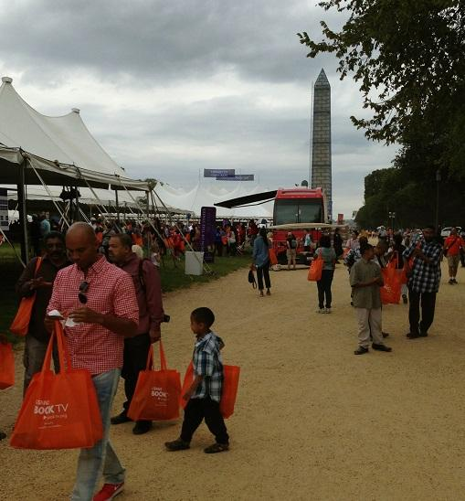 Attendees proudly accepted neon orange bags to fill with books at The National Book Festival.