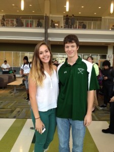 Peyton and JP are all smiles at the pep rally held in their honor on Friday.