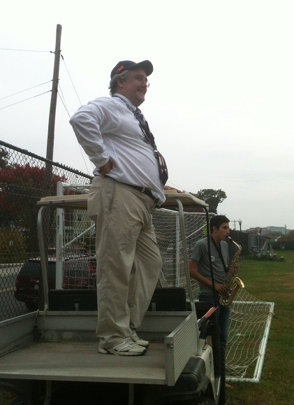 Mr. d'Alelio and Byron Gomez 15 watch the band practice before the Mid-Atlantic States Championships at the beginning of this month.