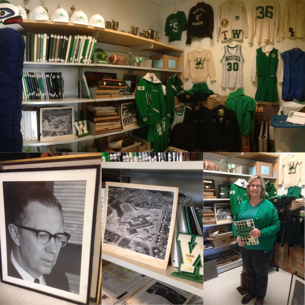 The physical objects that represent Wakefields history are found in the Alumni Closet.