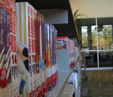 A beauty shot of one of the manga shelves in the Wakefield library.