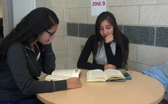 Sisters Danielle Tan '14 and Aimee Tan '16 read together at lunch.