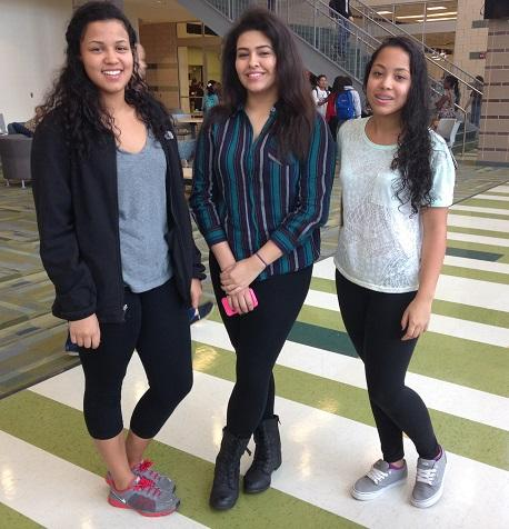 Melanie Ewell '14, Natalia Guzman '15, and Mia Ewell '15 sport Yoga Pants in Town Hall. They are comfortable and  classy at the same time.