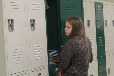 Andrea MacGregor '15 is adjusting to the new lockers!