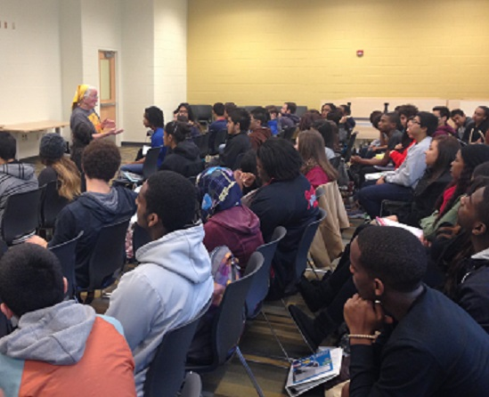 Joan Mulhollland visited Wakefield to help students see the impact they can have on the world.