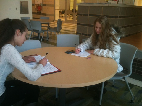 Juniors Rachel Springmann and Vanessa Plaza choose to sit in the lounge that is our Town Hall to complete their work after school.