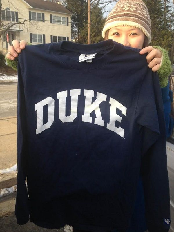 Carrie+Hellem+%2714%2C+a+hopeful+Duke+student%2C+holds+her+favorite+Duke+shirt.