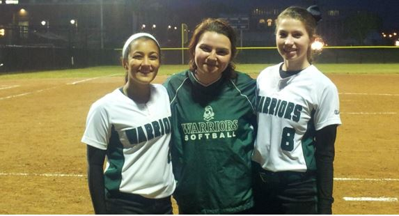 White, Periandri-Harrelson, and DeFranco pose after the hard fought win  against cross town rival W-L.