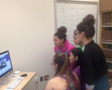 Ms. Cameron's English students Skype with women in Afghanistan.