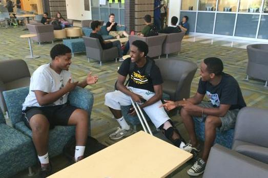 Graduating seniors give advice to rising senior, Xavier Cooper.