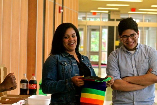 Sophomores Carolyn and Carlos have fun at The Equal Party's end of year celebration.