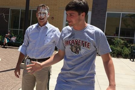 Leo and Dr. Willmore, right after Leo pied him in the face. We hope to see Leo on the graduation stage this year.