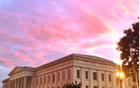 Sunset over the National Gallery of Art in the heart of DC.