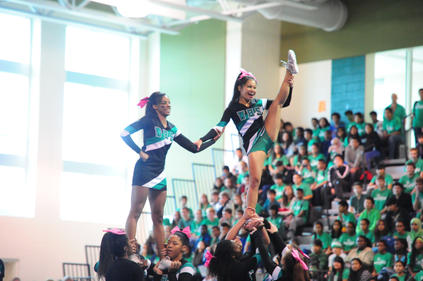 @WarriorCheerfam performing their competition routine at the homecoming pep rally.