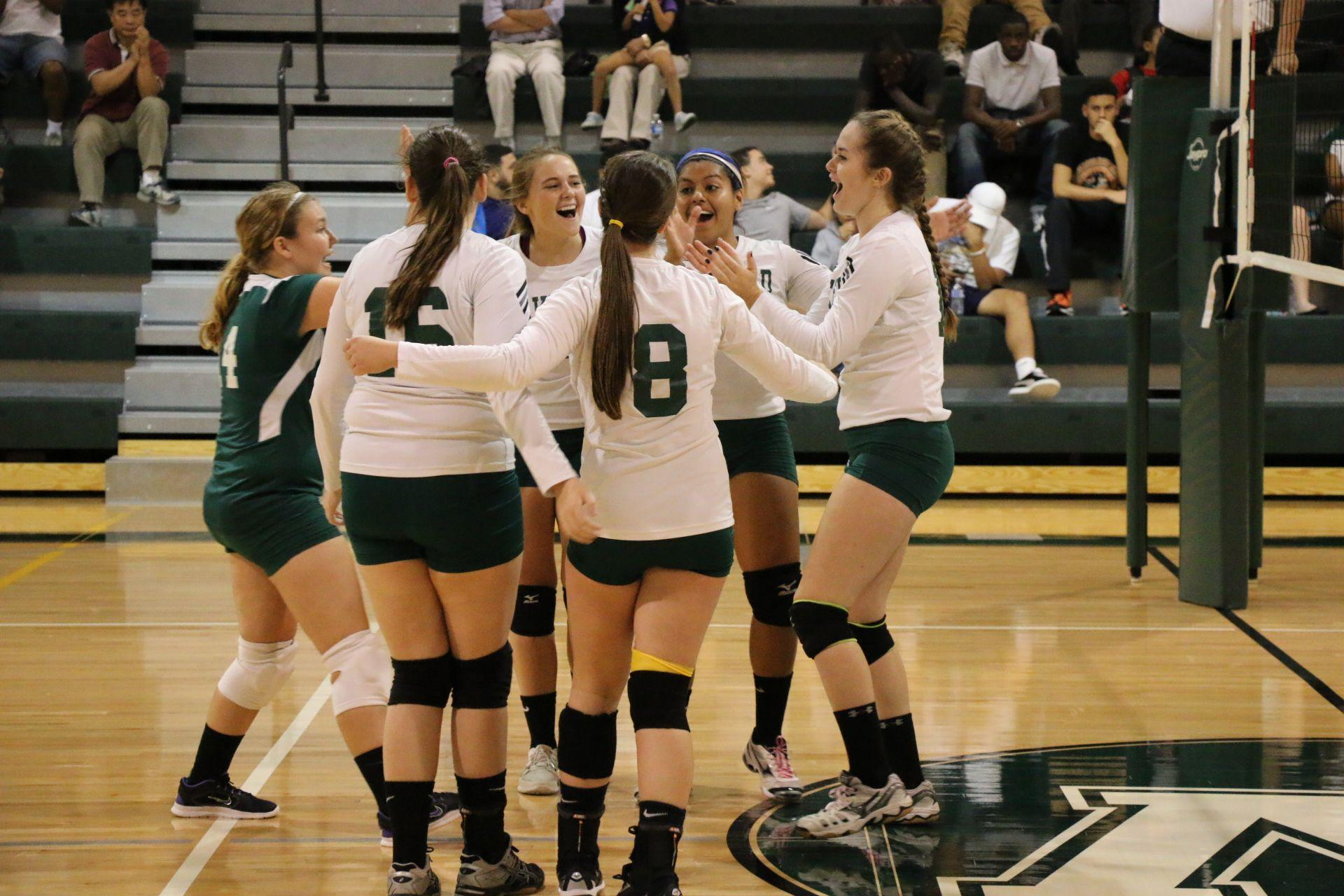 Warriors celebrating another point in their home gym!