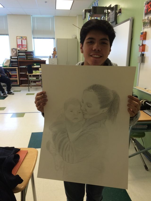 Alejandro submitted this drawing of his sister and her baby to the Scholastic Art Competition