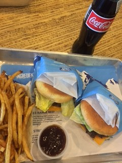 The meal came on a simple aluminum tray. The presentation helped showcase the burger's excellent taste.
