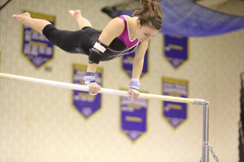Senior Leah Corts performs at her meet.