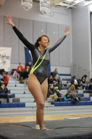 Senior Jasmine Latney lands her performance.