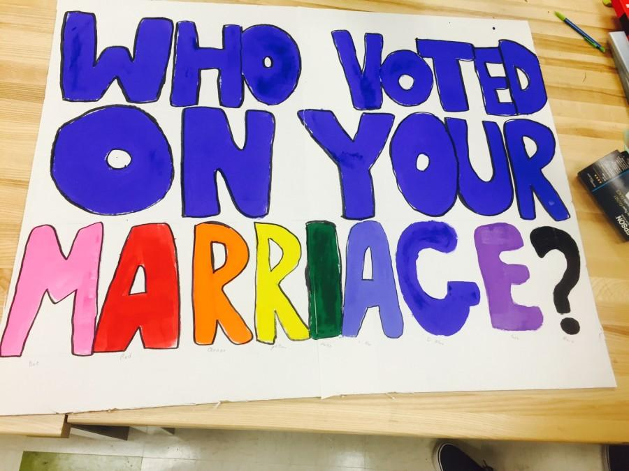 Equal club makes signs for their trip to the supreme court!