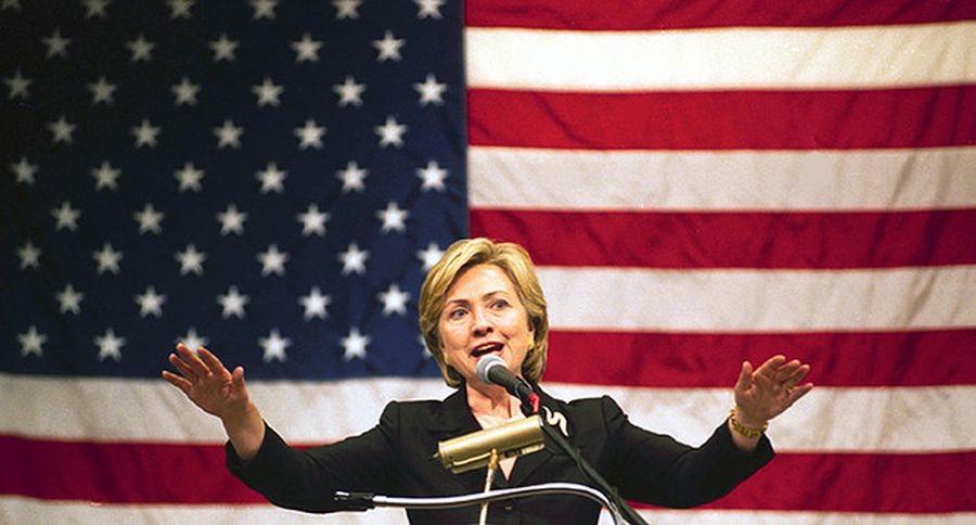 Clinton has a commanding presence at the podium.