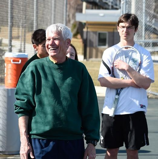 Coach Warren was all smiles at the match against Yorktown on March 26th.  #beatyorktown