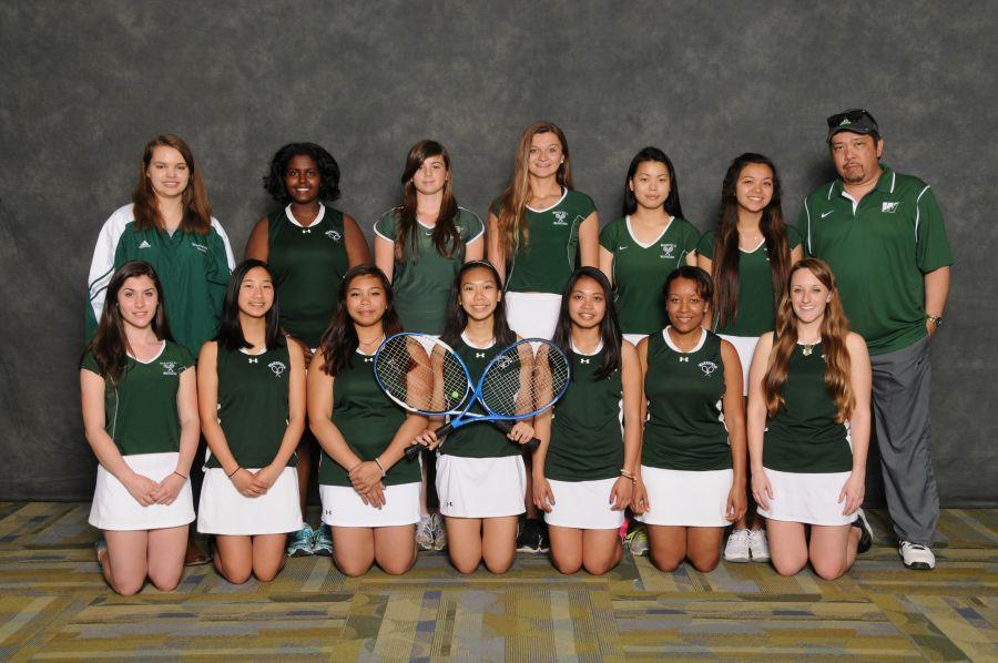 Girls Tennis pose for their group photo. They had already won their matches against Hayfield, Mount Vernon, Edison, and Falls Church when this picture was taken.