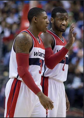 Bradley Beal and John Wall conversating last year.