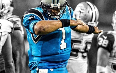 Cam Newton hits the dab in the end zone.