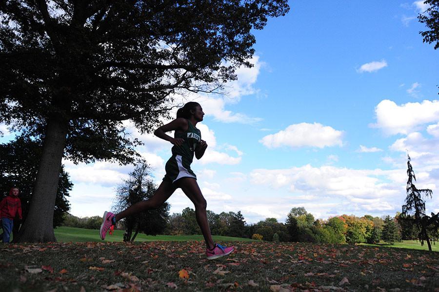 Lydia Dunbar sprints at a meet at Georgetown Prep School in North Bethesda, Maryland.