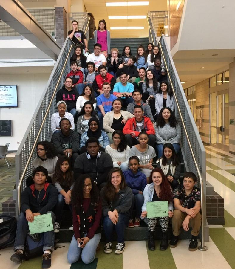Students of the Month walk the steps to success.