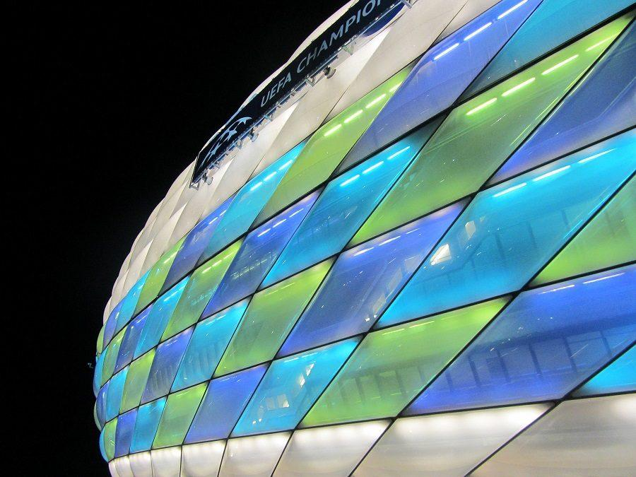 Allianz Arena lights up with different colors depending on the game.