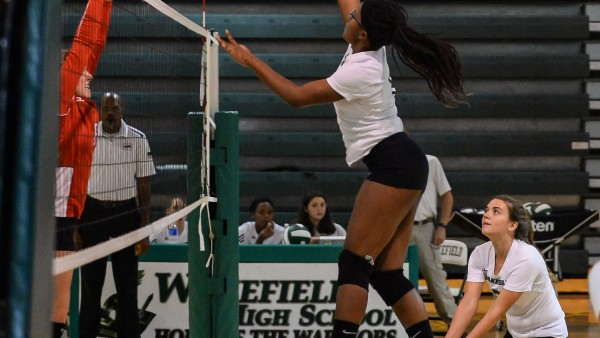 Rena Taylor goes up for the spike with a Devin Finlay assist.