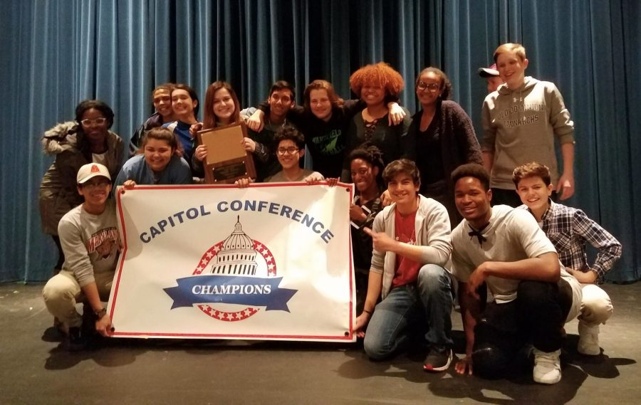 The One-act Conference Champions just after finding out that they had won.