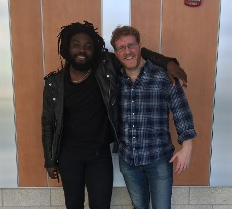 Jason Reynolds and Brendan Kiely pose outside of the auditorium right after their presentation.