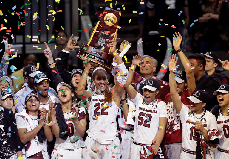 South Carolina celebrating after beating Mississippi State in the Women's Basketball Championship!