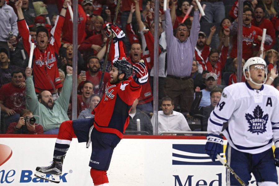 Tom Wilson after scoring the winning goal in overtime, last Wednesday in Game 1.
