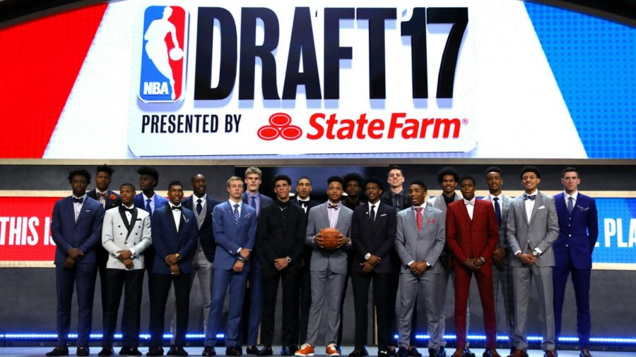 First round picks from the 2017 NBA Draft pose for a photo. (Photo found at https://tinyurl.com/yakwc28j)