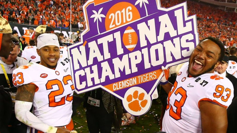 Clemson celebration their National Championship title last winter.