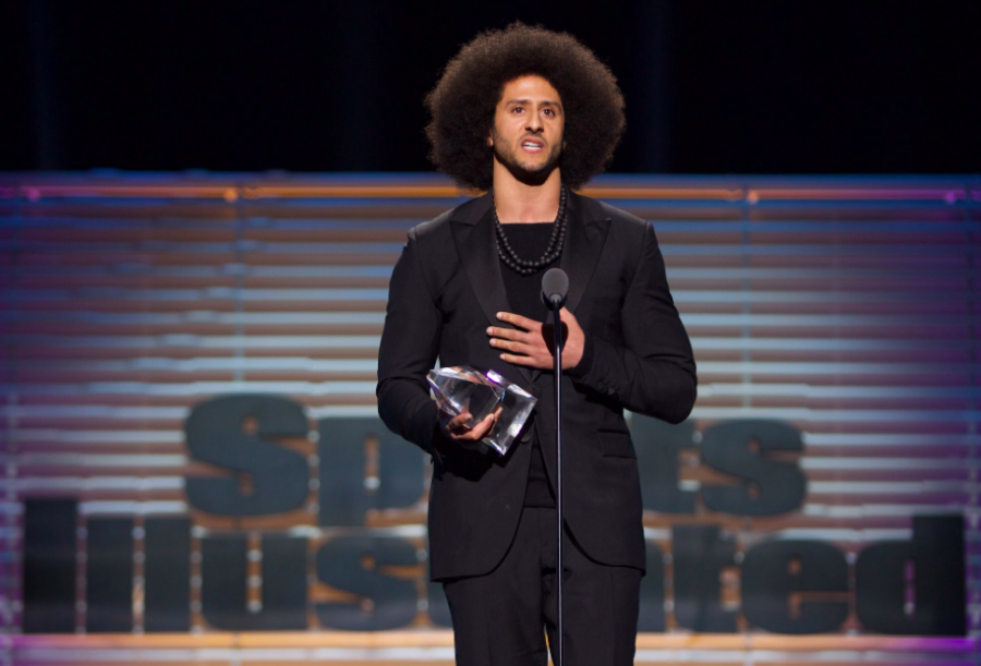 Kaepernick accepting his most recent award.