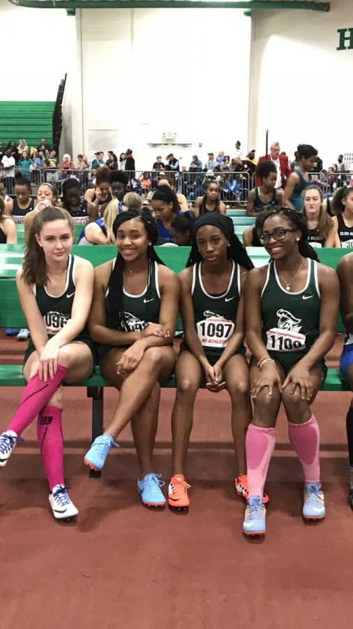 The girls 4x200 team at states.