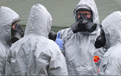 British first responders at the scene with Hazmat suits.
