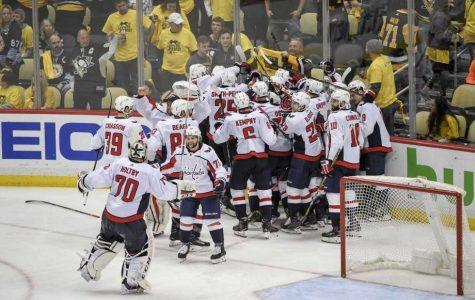 Caps celebrate big win over Penguins!  Photo found at SFGate.com