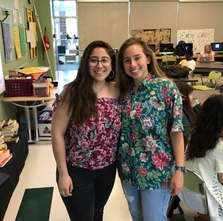 Ana Sofia and Ena wear Hawaiian shirts for spirit day before Friday's Lacrosse game.