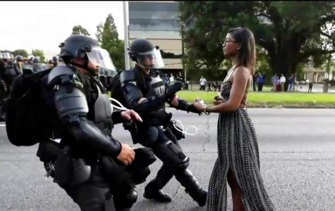 The striking picture was taken by Jonathan Bachman, a New Orleans-based photographer, during the protests over the police killings of two black men.