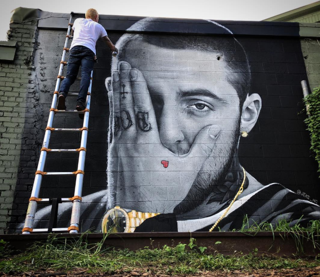 Here is a mural in Greensboro, NC. Artwork by jeks_nc on Instagram.