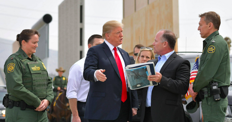 Trump with Border Patrol Agents in El Paso, TX where construction begins in the immediate future.