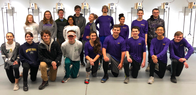 Wakefield's Air Rifle team at a meet competing with Lake Braddock Secondary School.